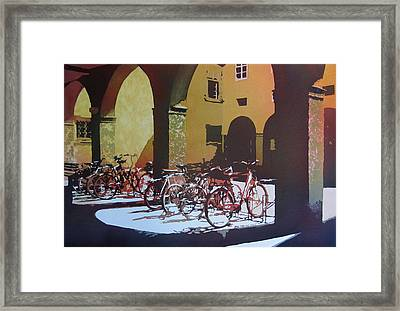 Nine Bicycles Framed Print by Kris Parins