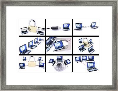 Nine Computer Images On White Background Framed Print
