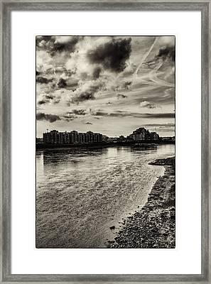 Nine Elms Across The Thames Tide Framed Print by Lenny Carter
