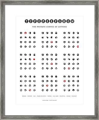 Nine Faces Type Peep Show Framed Print by Martin Krzywinski