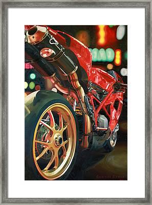 Nine Foot Ducati Framed Print by Guenevere Schwien