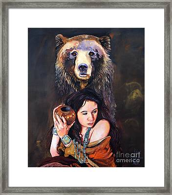 Nine Stars Woman - Bear Medicine Framed Print by J W Baker