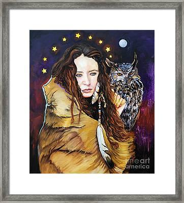 Nine Stars Woman / Owl Medicine Framed Print