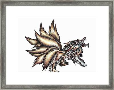 Nine Tails Wolf Demon Framed Print by Shawn Dall