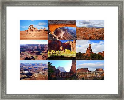 Nine Utah Landmarks Framed Print by Catherine Sherman