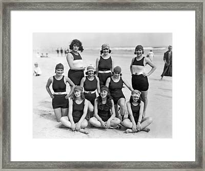 Nine Women In Bathing Suits Framed Print by Underwood Archives