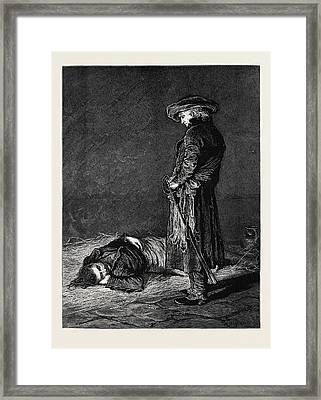 Ninety Three The Dungeon Cimourdain Advanced As Noiselessly Framed Print by English School