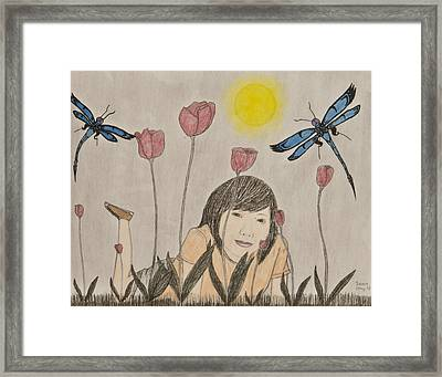 Nini And The Dragons Framed Print by Sean Mitchell