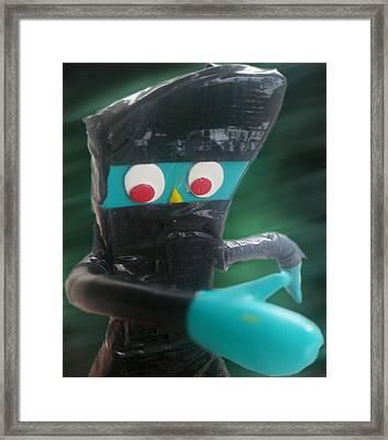 Ninja Gumby Framed Print by Del Gaizo