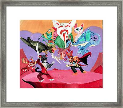 Ninja Kitty Framed Print by Artists With Autism Inc