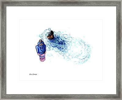 Ninja Stealth Disappears Into Bubble Bath Framed Print by Del Gaizo