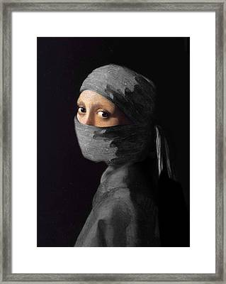 Ninja With A Pearl Earring Under Her Cowl Framed Print by Del Gaizo
