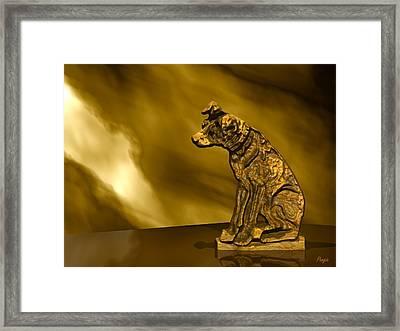 Nipper In Bronze Framed Print by John Pangia