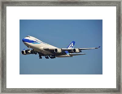 Nippon Cargo Airlines Boeing 747-4kzf Ja08kz Lax January 19 2015 Framed Print by Brian Lockett
