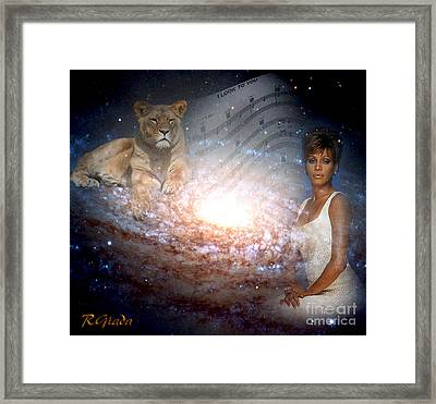 Framed Print featuring the digital art Nippy The Graceful Lioness - Tribute Art By Giada Rossi by Giada Rossi