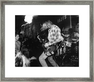 Nirvana Playing In Front Of Crowd Framed Print