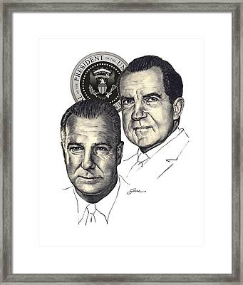 Nixon And Agnew Framed Print by Harold Shull