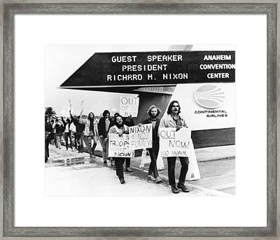 Nixon Protest In Anaheim Framed Print by Underwood Archives