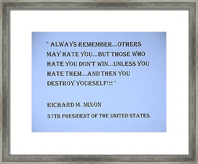 Nixon Quote In Cyan Framed Print