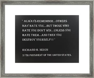 Nixon Quote In Negative Framed Print
