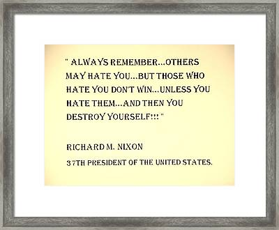 Nixon Quote In Sepia Framed Print