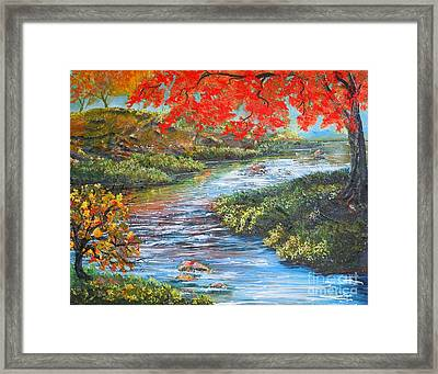 Nixon's Brilliant View Of Fall Alongside The Rapidan River Framed Print by Lee Nixon