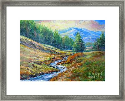 Framed Print featuring the painting Nixon's Meandering Stream by Lee Nixon