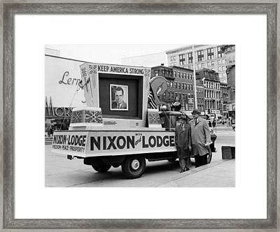 Nixons Presidential Campaign Framed Print by Charles Cocaine