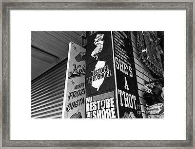 Nj Restore The Shore Mono Framed Print
