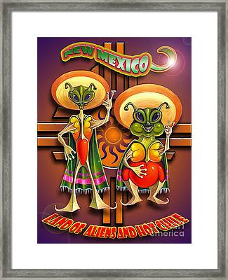 New Mexico Land Of Aliens And Hot Chile Framed Print