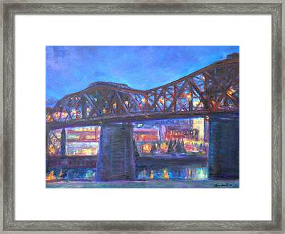 City At Night Downtown Evening Scene Original Contemporary Painting For Sale Framed Print