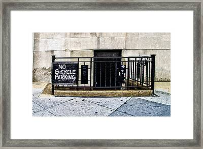 No Bicycle Parking Framed Print