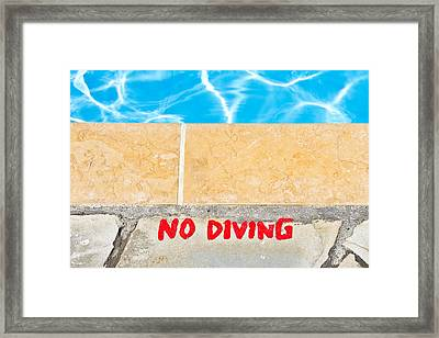 No Diving Framed Print by Tom Gowanlock