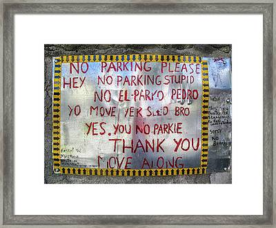 No El Parko Pedro Sign Framed Print