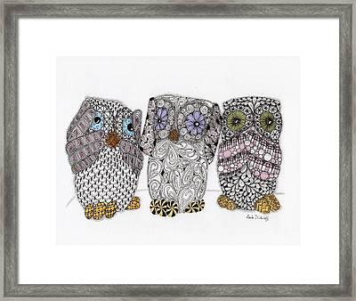 No Evil Owls Framed Print by Paula Dickerhoff