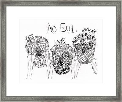 No Evil Skeletons Framed Print by Paula Dickerhoff