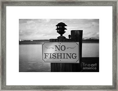 No Fishing Sign On Private Jetty Islamorada Florida Keys Usa Framed Print by Joe Fox