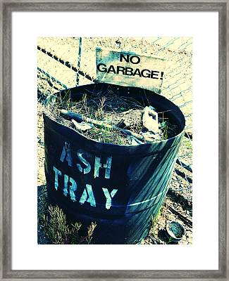 Framed Print featuring the photograph Ash Tray Steel Drum by Laurie Tsemak