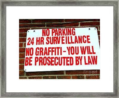 No Graffiti Framed Print by Ed Weidman