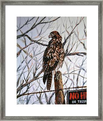 Framed Print featuring the painting No Hunting by Craig T Burgwardt