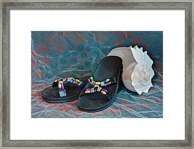 Flip Flop Conch Shell Framed Print