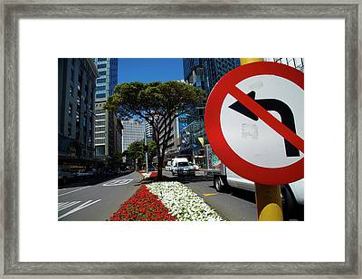 No Left Turn Sign, Flowers And Office Framed Print