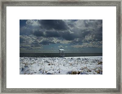 No Lifeguard On Duty Framed Print by Amazing Jules