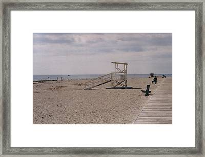 No Lifeguard On Duty Framed Print by David Fiske