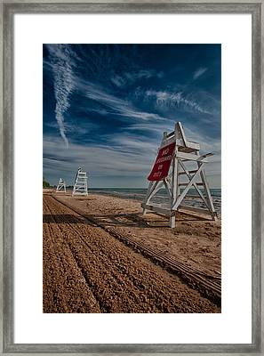 No Lifeguard On Duty Framed Print by Mike Burgquist
