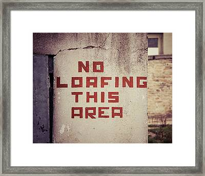 No Loafing Framed Print by Takeshi Okada