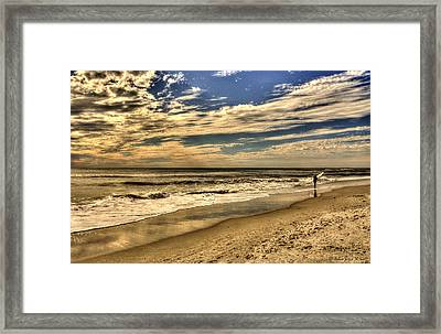 Framed Print featuring the photograph No More Surfing Today by Julis Simo