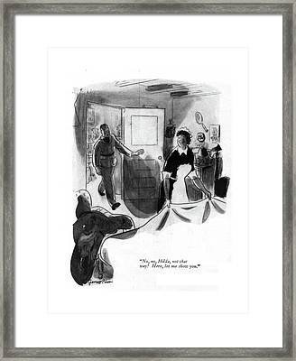 No, No, Hilda, Not That Way! Here, Let Me Show Framed Print by Garrett Price