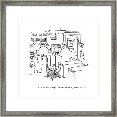 No, No, Mrs. Flang! This Is Where Framed Print by Gardner Rea
