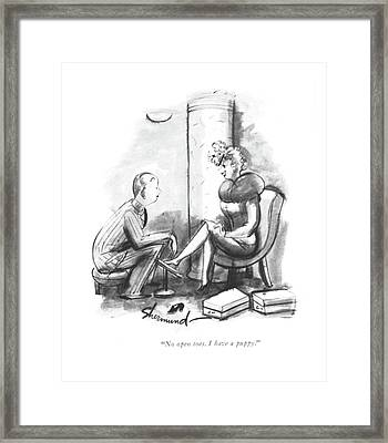 No Open Toes. I Have A Puppy Framed Print by Barbara Shermund